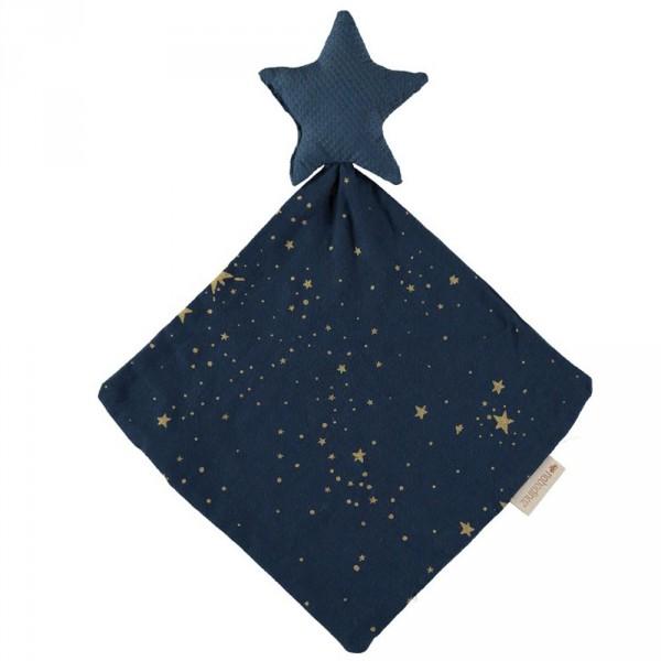 Nobodinoz Schnuffeltuch goldene Sterne blau