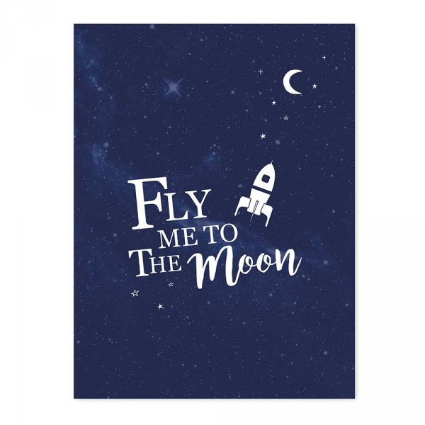 Lilipinso Poster Fly me to the moon blau weiß