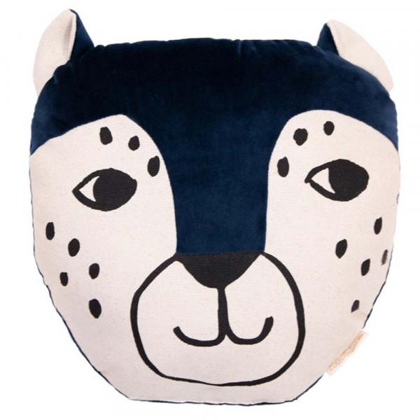 Nobodinoz Dekokissen Leopard Samt blau
