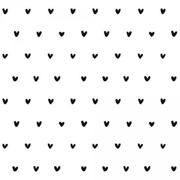 Lilipinso Vlies Tapete weiß mit schwarzen Herzchen