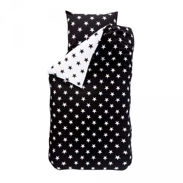 Bink Bettwäsche Sterne schwarz weiß 135 x 200