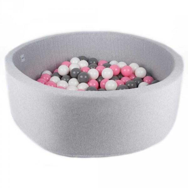Minibe Bällebad groß hellgrau incl. 300 Bällen in Wunschfarbe
