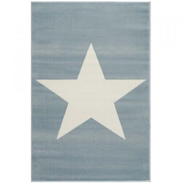 Livone Kinderteppich Stern weiss auf blau