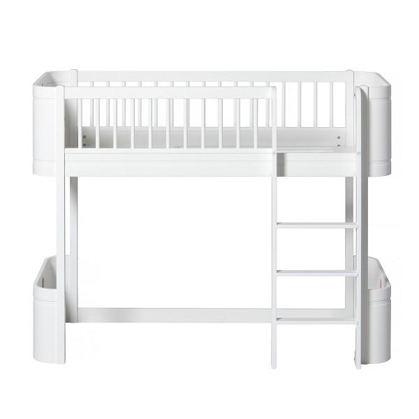 Oliver Furniture Wood Mini+ Umbauset Juniorbett zu halbhohem Hochbett weiss