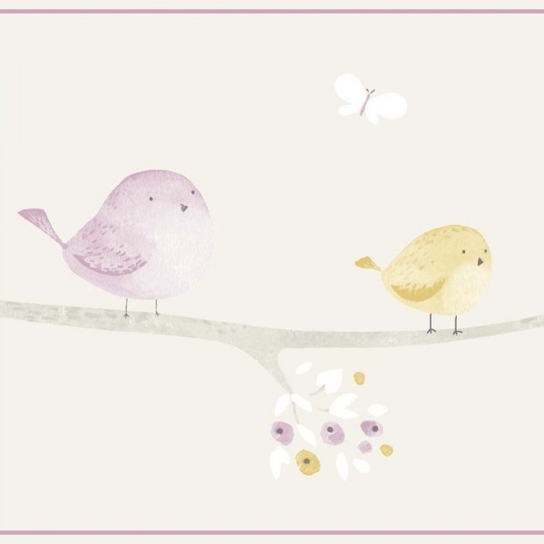 Casadeco My Little World Bordüre Vögelchen grau lila lime