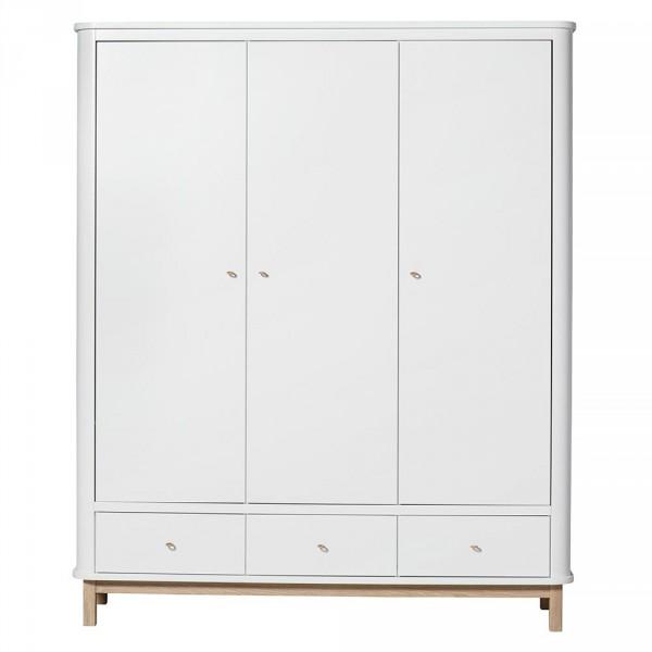 Oliver Furniture Wood Kleiderschrank 3 türig weiss/Eiche