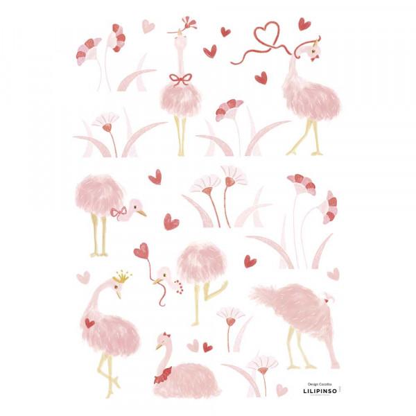 Lilipinso Wandsticker A3 Straussen mit Herzchen und Blüten