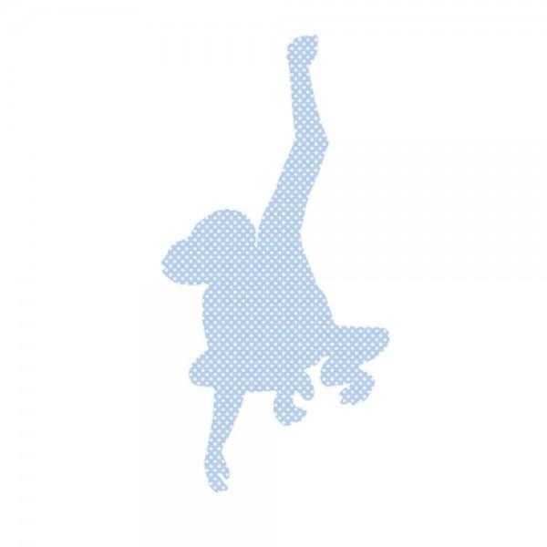 Inke Tapetentier Affe hellblau Punkte weiss