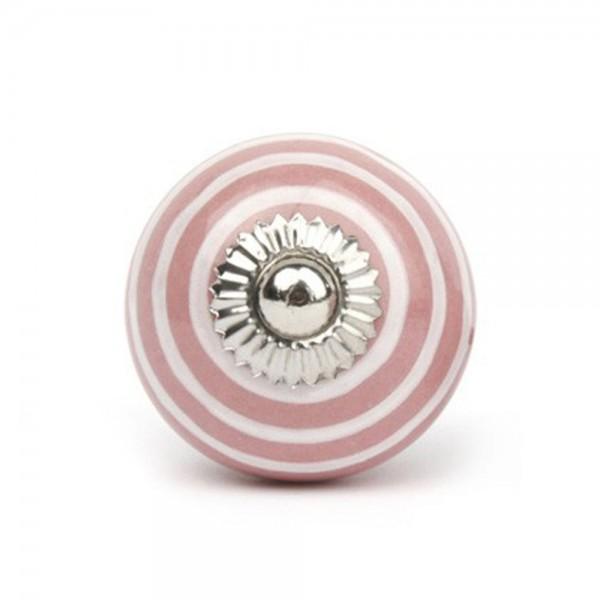 Knaufmanufaktur Möbelknauf Keramik rosa Streifen weiss