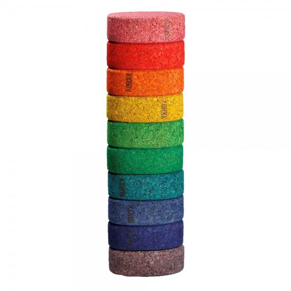 Korxx 10 Kork Bauklötze rund farbig