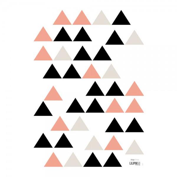 Lilipinso Wandsticker A3 Dreiecke schwarz beige koralle