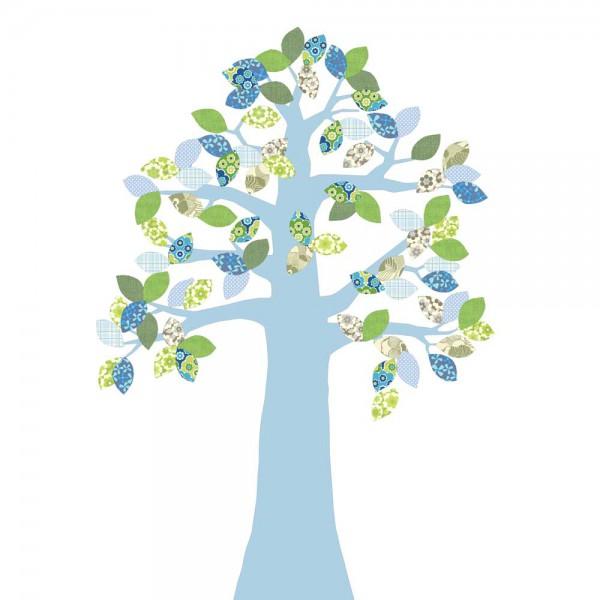 Inke Tapetenbaum 2 Stamm hellblau Blätter grün blau