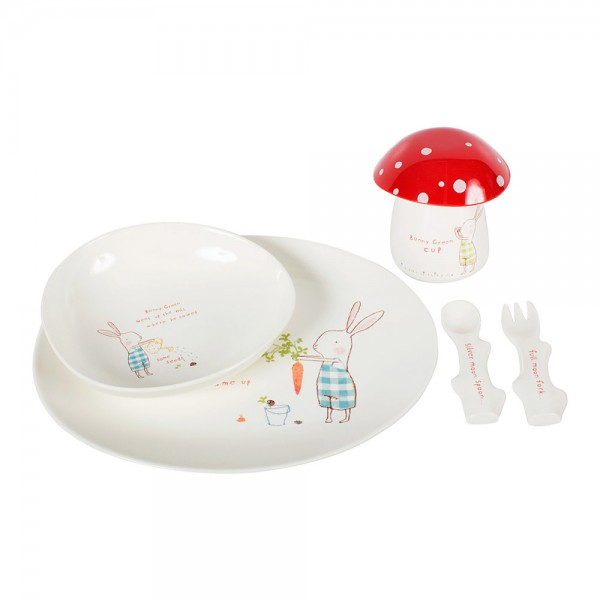 Maileg Kindergeschirr-Set Bunny Green Melamin