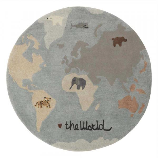 OYOY Kinderteppich Weltkarte mit Tieren