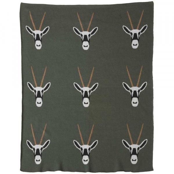 Quax Kuscheldecke Feinstrick Antilopen khaki 80 x 65
