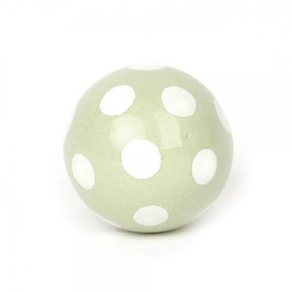 Knaufmanufaktur Möbelknauf Ball Keramik grün Punkte weiss