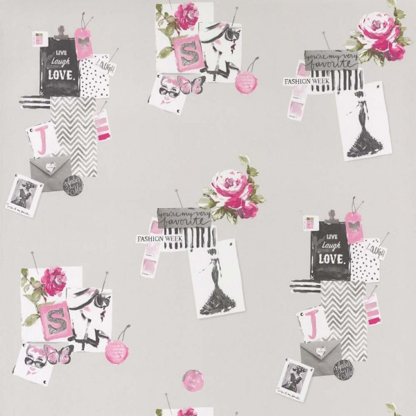 Caselio Pretty Lili Tapete Madame rosa grau pink