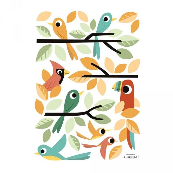 Lilipinso Wandsticker A3 Vögel orange grün