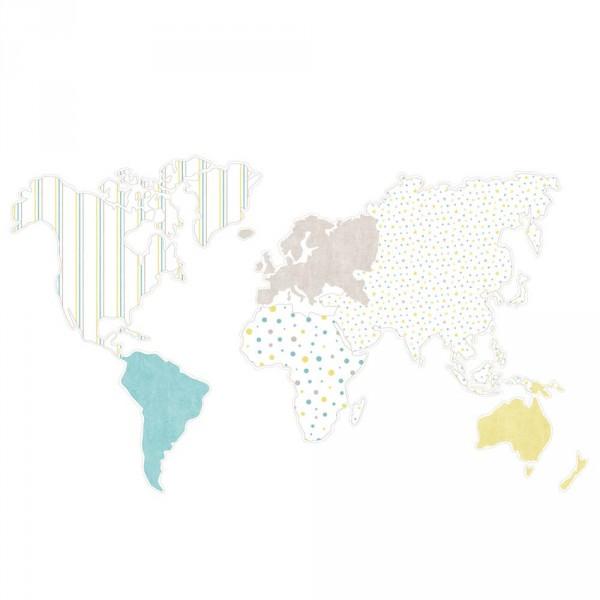 Casadeco Alice & Paul Panoramatapete Weltkarte grau türkis lime