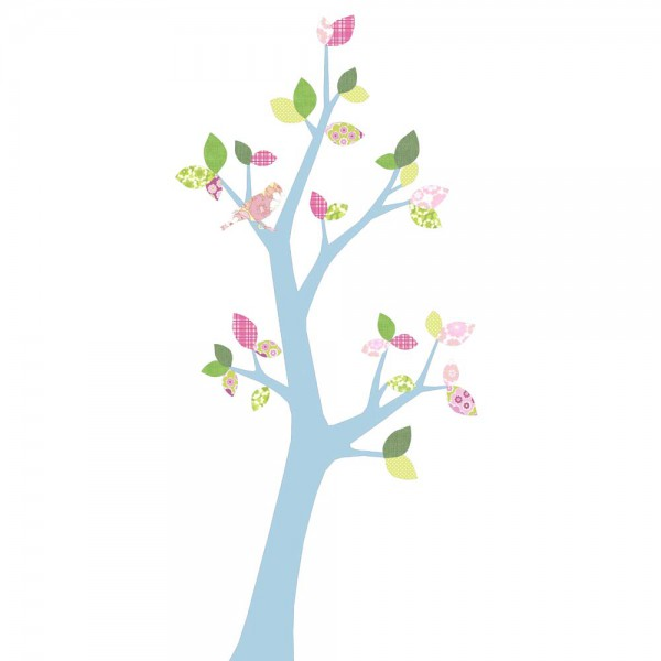 Inke Tapetenbaum 3 Stamm hellblau Blätter rosa grün