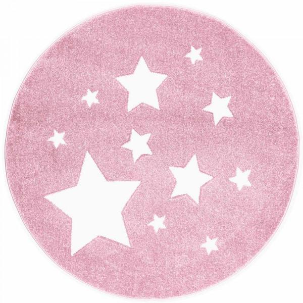 Scandic Living Kinderteppich rund Sterne rosa