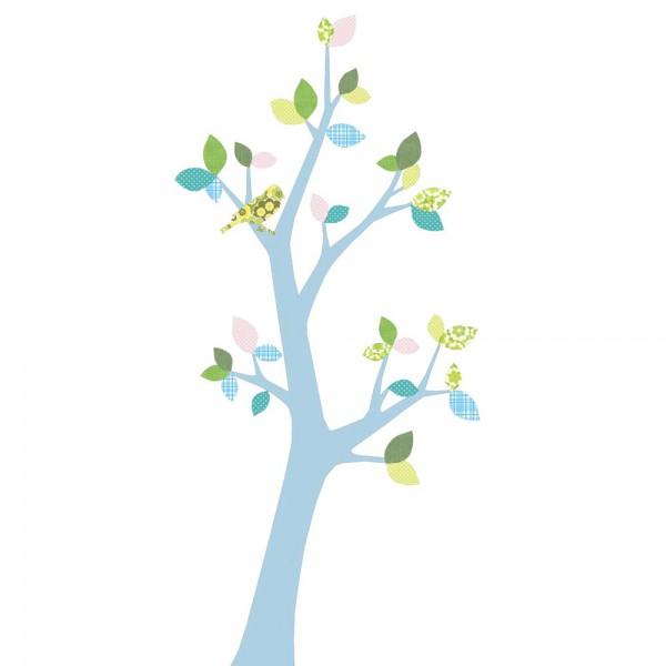 Inke Tapetenbaum 3 Stamm hellblau Blätter blau rosa grün