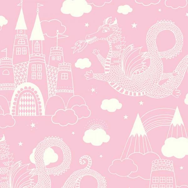 Majvillan Tapete Vlies Drachen Schloss rosa