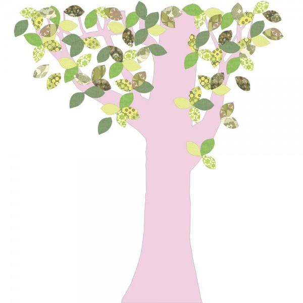 Inke Tapetenbaum 1 Stamm rosa Blätter grün