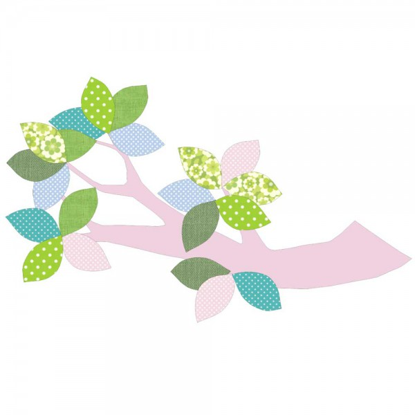 Inke Tapetenast rosa Blätter grün blau rosa