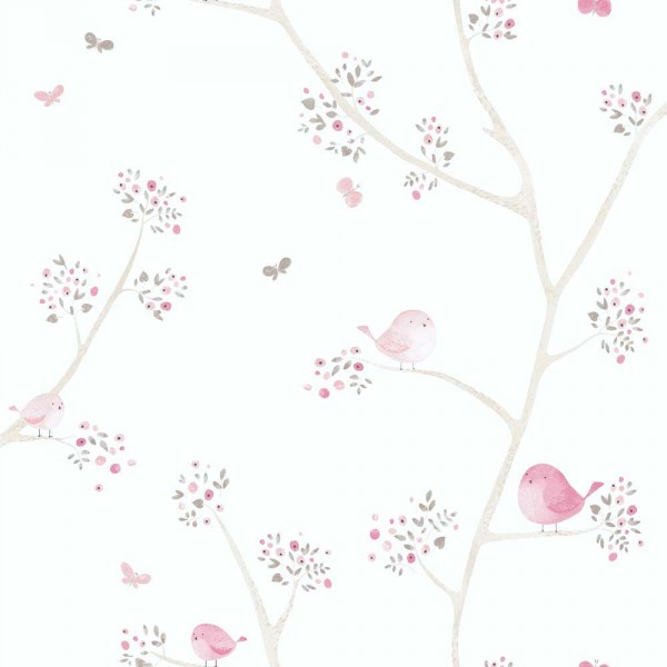 Casadeco My Little World Tapete Vögelchen braun rosa