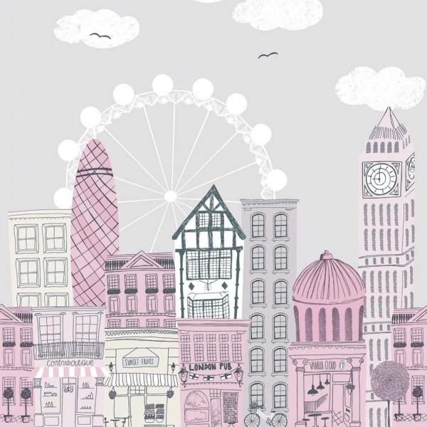 Casadeco Alice & Paul Panoramatapete Häuser grau pink rosa