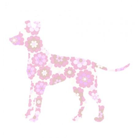 Inke Tapetentier Hund Blumen rosa