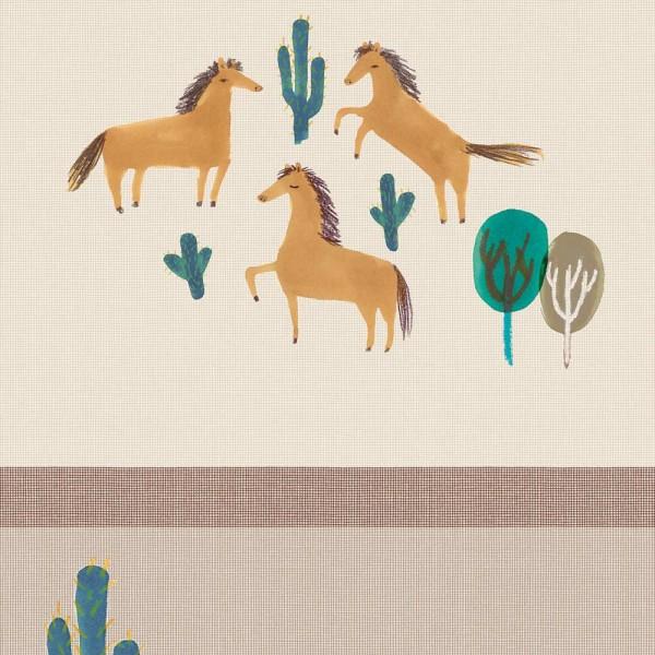 Eijffinger Tout Petit Tapeten Wandbild Prärie Pferde petrol braun