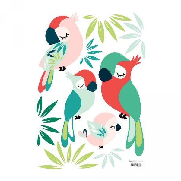 Lilipinso Wandsticker A3 Papageien und Blätter grün rosa rot