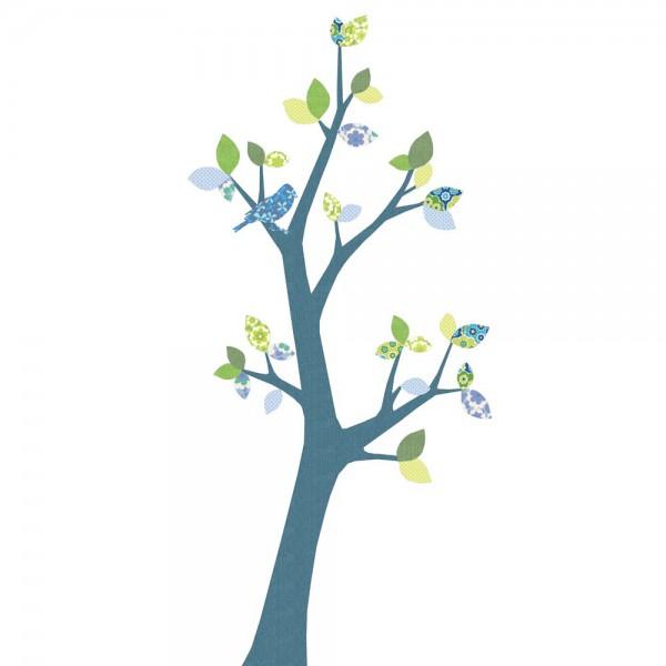 Inke Tapetenbaum 2 Stamm dunkelblau Blätter blau grün