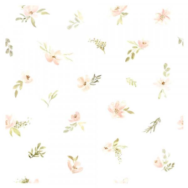 Lilipinso Vlies Tapete kleine Blüten apricot grün