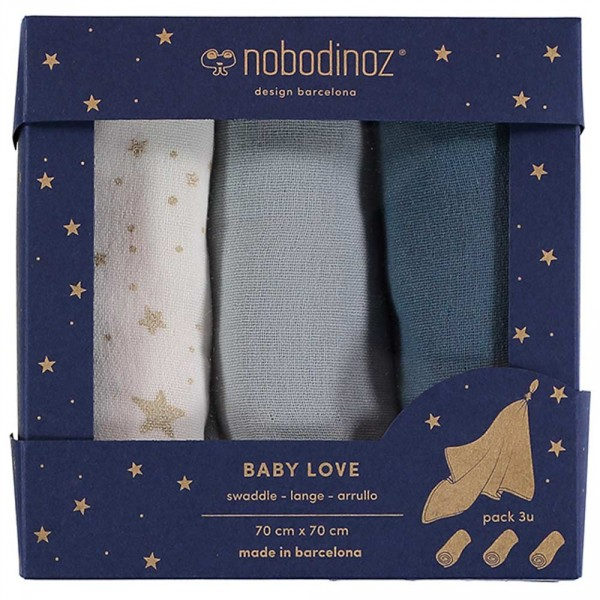 "Nobodinoz Baby Mulltuch ""Love"" Box blau"