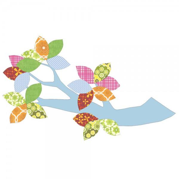 Inke Tapetenast hellblau Blätter bunt