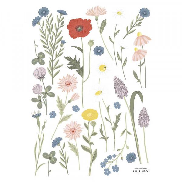 Lilipinso Wandsticker A3 Sommerblumen 2 grau pastell
