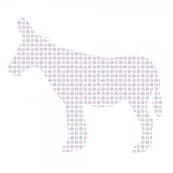 Inke Tapetentier Esel Apfelmuster blau rosa