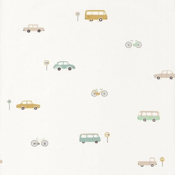 Casadeco Kindertapete Happy Dreams Fahrzeuge mint gelb