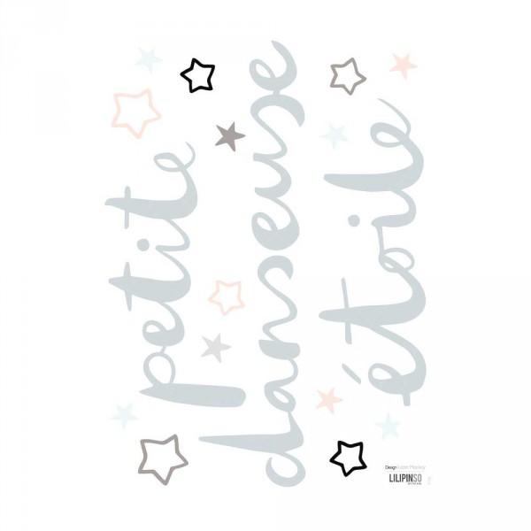 "Lilipinso Wandsticker Spruch ""Petite danseuse étoile"" grau"