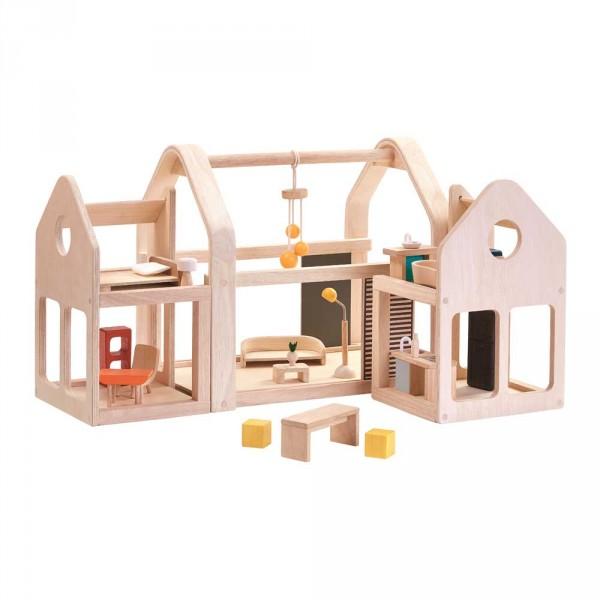 Plan Toys Puppenhaus zum Mitnehmen Holz natur