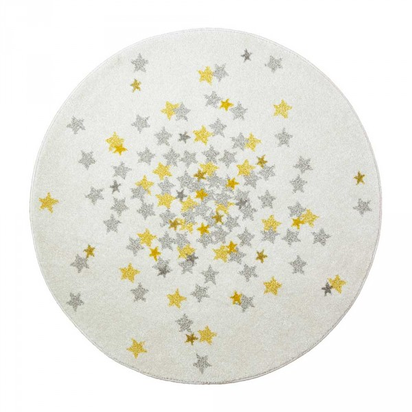 Art for Kids Kinderteppich Sterne rund creme grau curry