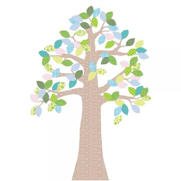 Inke Tapetenbaum 2 Stamm braun Blätter grün blau rosa