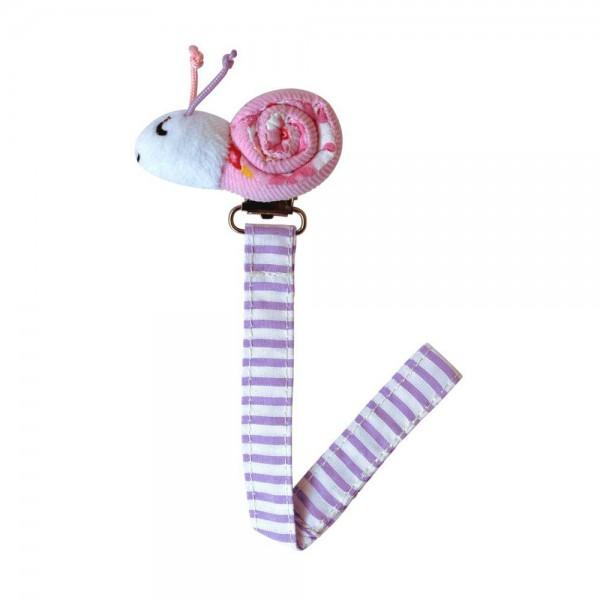 Sindibaba Schnullerhalter Schnecke rosa