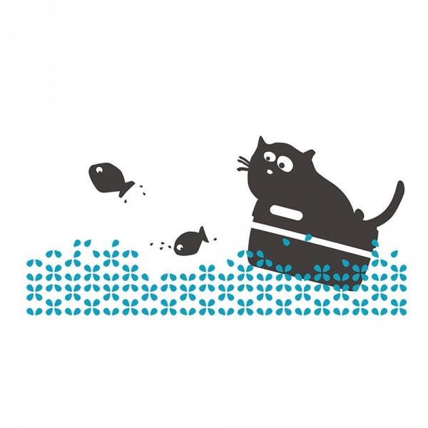 cats on appletrees Wandsticker Katze Friedegunde auf See