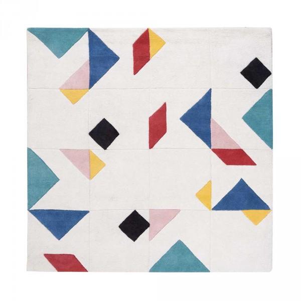 Lilipinso Teppich Tangram quadratisch creme bunt