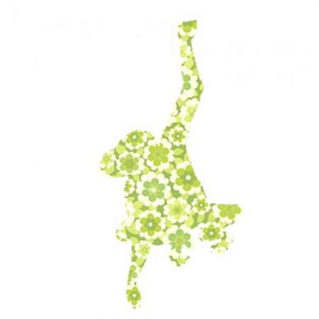 Inke Tapetentier Affe Blume grün