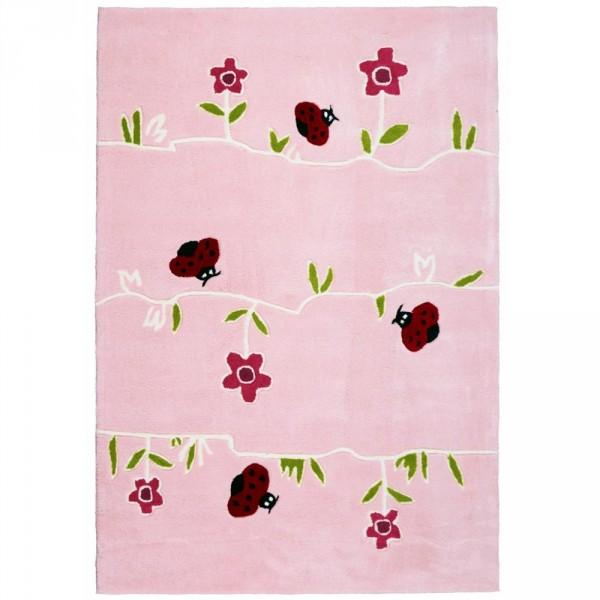 Livone Kinderteppich Blumenwiese rosa